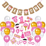 Party Decoration 45 Pcs 1st Birthday Girls Combo 1 Pcs Banner , 19 PcsPhoto Booth Props and 25 Pcs Metallic Balloons Birthday