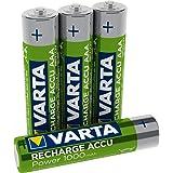 Varta Batteria Ricaricabile AAA MiniStilo, 1000 mAh, Confezione da 4 Pezzi, Pre-caricate, Pronte all'Uso, Verde/Argento 05703