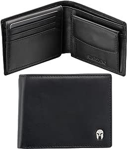 SPARTANO Portafoglio da Uomo in Vera Pelle - con Protezione RFID, Portamonete, 7 Tasche per Carte di Credito, 2 x Banconote, 1 x Patente, 3 x Biglietti da Visita