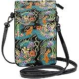 LORONA Portafoglio per cellulare con motivo pesci e fiori, per donne e ragazze, piccola borsa a tracolla