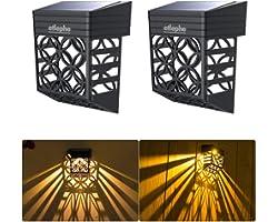 Etlephe Lampe Solaire Exterieur Jardin, 2 Pièces Étanche Lumière Solaire Exterieur, Éclairage Mural D'extérieur pour Portails