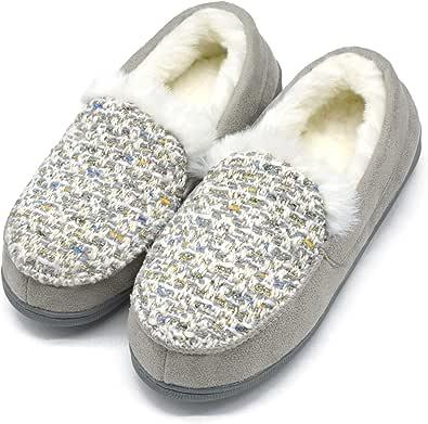 ONCAI Donna Memory Foam Peluche Pantofole Mocassini Caldo Inverno Tweed Casa Pantofole per Interno All'Aperto Gomma Suola