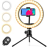 Pipishell Ring Light with Tripod Stand & Phone Holder, Selfie Ring Light 10 inch With 3 Colors, 10 Brightness Levels…