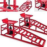 Reifenbreite bis 225 KRD 2 St/ück Auffahrrampen mit hydraulischem h/öhenverstellbar Wagenheber Hebeplattform Laderampe Set 2000kg