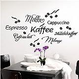Grandora, 1075W, wandtattoo, koffie, cappuccino, espresso, koffie, keuken, zwart