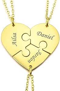 MeMeDIY Collana con Ciondolo A Forma di Puzzle Personalizzato con Nome per Coppie Uomo Donna Incisione per Fidanzato Fidanzata Amanti in Set di Gioielli per La Famiglia Amore Amicizia