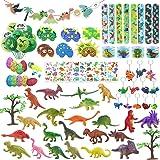 Dinosaurie festväskor fyllning, dinosaurieleksaker mini dinosauriefigurer snäpparmband kläckning dino ägg dino mask tatuering