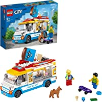 City Great Vehicles LEGO 60253 Ice-Cream Truck Toy with Skater and Dog Figure, for Kids 5+ Year Old