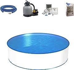 Poolset, Größe & Tiefe wählbar, Aufstellbecken mit 0,4mm Stahlwand, 0,4mm Poolfolie, Sandfilteranlage SF und Filtersand, Skimmer- und Schlauch-Set