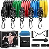 Motionsband uppsättning, [uppgraderad version] träningsband set med 5 fitnessrör, handtag, dörrankare, ankelremmar, bärväska,