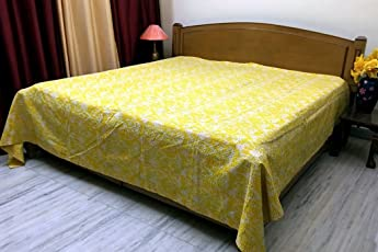 Stylo Culture Bedspread Hand Stitch Kantha Printed Cotton Decor Ikat Coverlet Double Bed Size Yellow