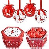 YILEEY Boule de Noel Faites a la Main 14 PCS - Ø 7.5cm Boite Cadeau de Boules de Sapin de Noel avec Cintre Decoration de Noel