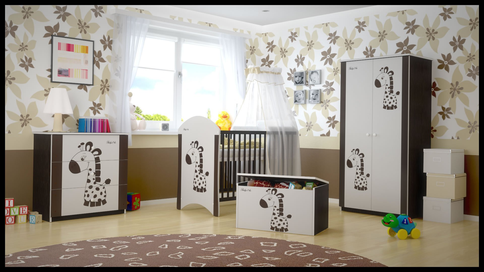 5 PCS BABY NURSERY FURNITURE SET - COT + MATTRESS + WARDROBE + CHEST OF DRAWERS + TOY BOX (model 21)  Included: cot + mattress + wardrobe + chest of drawers + toy box Material: wood GREAT QUALITY 1