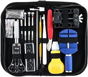 SODIAL 147 PCS Kit de reparation de montres Ensemble professionnel d'outils de barre de ressort, ensemble d'outils de broche de lien de bande de montre avec etui de transport