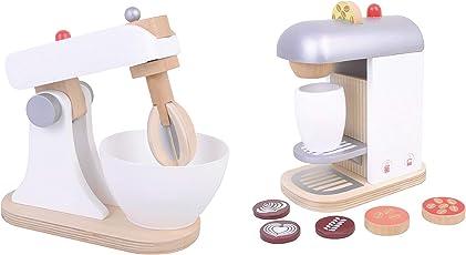 Kaffeemaschine Mixer Küchenmaschine aus Holz Set Spielküche