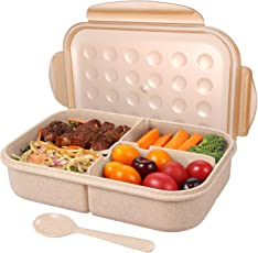Kurtzy Wheat Straw Lunch Box Meal Tiffin Spoon Container Tableware Food Storage Organizer 1 Piece