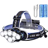 OUTAD Head Torch Rechargeable, 18000 Lumens Super Bright USB Headlight with 8 Modes, Waterproof Zoomable LED Headlamp…