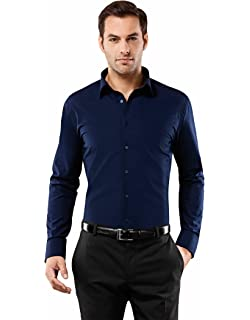 Vincenzo Boretti Mens Shirt Slim-fit Fitted Classic Design Plain Solid Colour 100/% Cotton Non-Iron Long-Sleeve Designer Shirts for Men Formal Office Wedding Ideal with tie