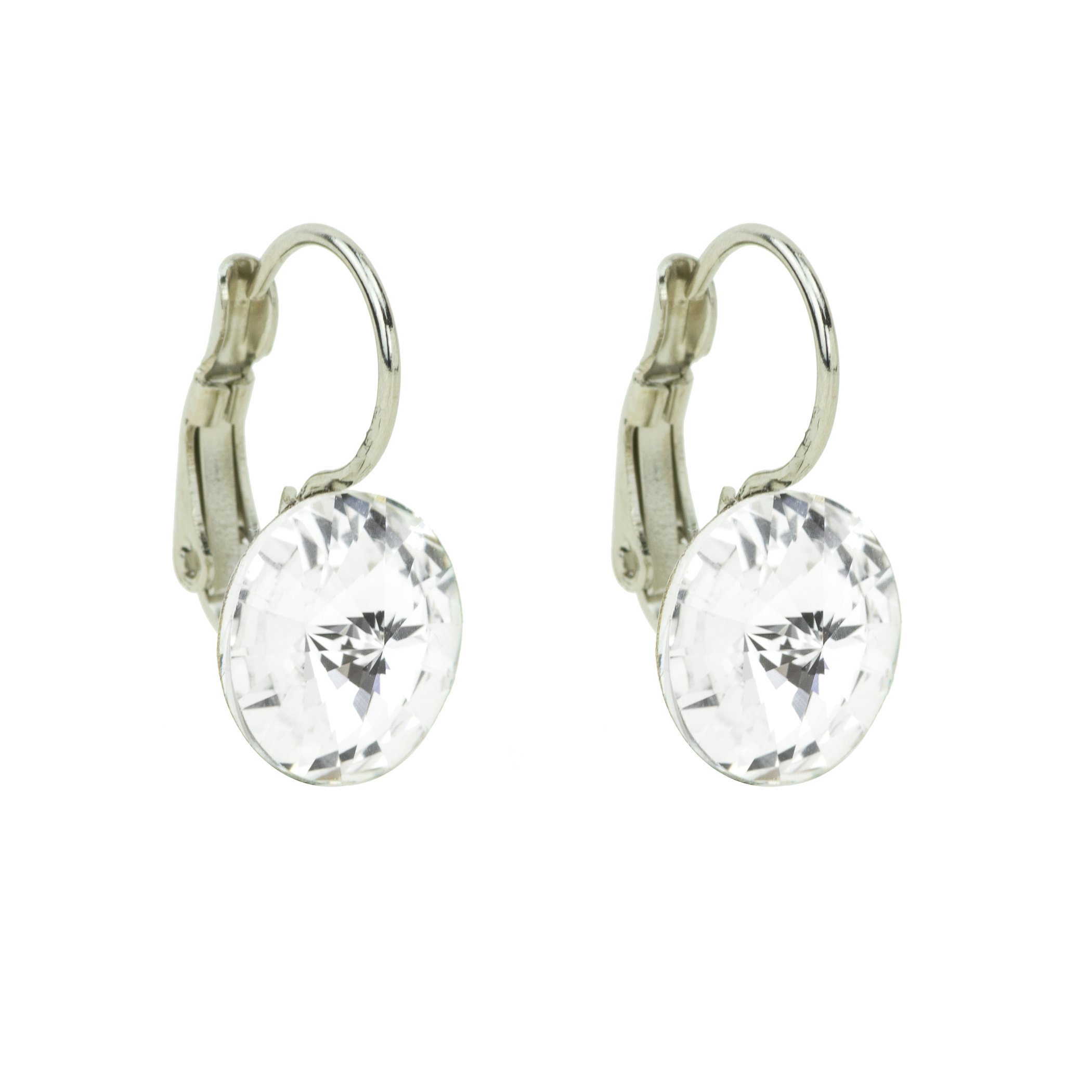 Eve S jewelry orecchini da donna con Swarovski Elements Crystal (10mm) placcato argento rodiato bia
