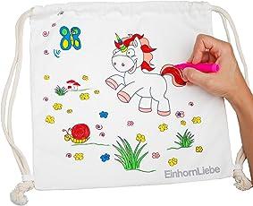 EinhornLiebe Kinder Einhorn Rucksack zum selber bemalen inkl. 5 Stifte 34x34cm Farbe: Natur