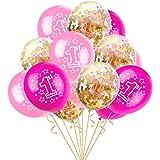 """Trada Luftballons, 15pcs 12"""" Folie Latex Konfetti Ballon Baby Ein Jahr Alt Birthday Party für Hochzeit, Weihnachten, Geburtstagsfeiern, Hochzeitsfeiern,Blau-Rosa Licht Rosa Pflaume"""