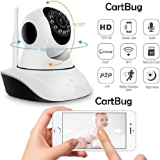 CABLEGALLERY Night Vision CCTV Camera with 720p HD Wi-Fi Security Surveillance System (Home Wireless Dome Pan/Tilt with 2-Way Audio) - White
