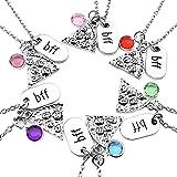 """Jovivi gioielli, colore argento, fetta di pizza, gioiello dell'amicizia catene con incisione """"bbf"""", tag strass cristallo"""