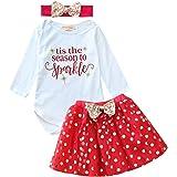 FANCYINN Bebé Niña Navidad Conjunto Romper Camiseta Top Tutu Falda con Diadema Set 3 Piezas