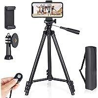 Handy Stativ 130cm Aluminium Kamera Stativ,mit handystativ adapterund Bluetooth Fernbedienung,handystativhalter für alle…
