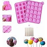 YOUYIKE Moules à Cake Pop, 20 Cavité Moules à Gâteau en Silicone,Lollipop Party Cupcake Moule à Sucettes pour la Fabrication
