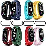 Ferilinso 8-pack bandjes armband voor Xiaomi Mi Band 5 + 2-pack schermbeschermer, siliconen polsband vervangende armband verl
