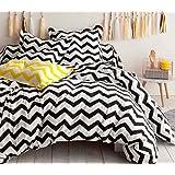 EnLora Double Quilt Cover Set, Black/White, Double, 162ELR81287, Set of 3