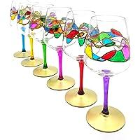 Set 6 calici Rainbow waves cl.50 multicolore in cristallo dipinti a mano Murano style Venezia