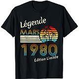 Mars 1980 41 ans 41eme Anniversaire Légende Cadeau T-Shirt
