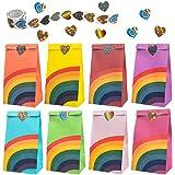 Wodasi Cadeauzakjes, 40 stuks, feestzakjes, regenboogiris, papieren zakken met een rol van 100 stickers voor kinderen, verjaa