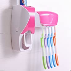 Harikrishnavilla Plastic Automatic Toothpaste Dispenser and 5 Toothbrush Holder for Home Bathroom (Multicolour, 1101-a)