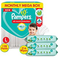 Pampers New Diapers Pants Monthly Box Pack, Large (Pack of 128) & Pampers Aloe Vera Baby Wipes - 72 Count (Pack of 3)