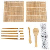 Kit de sushi en bambou, Kit de sushi débutant, 9 pièces/ensemble Kit de fabrication de sushi en bambou Comprend 2 tapis…