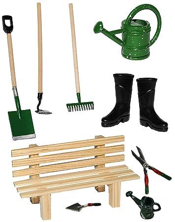 Gartengeräte  10 tlg. Set: Gartengeräte + Gummistiefel + Gießkanne + Gartenbank ...
