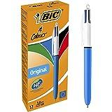 BIC 8934642 - 4 colores Original bolígrafos Retráctiles punta media (1,0 mm) – Caja de 12 unidades