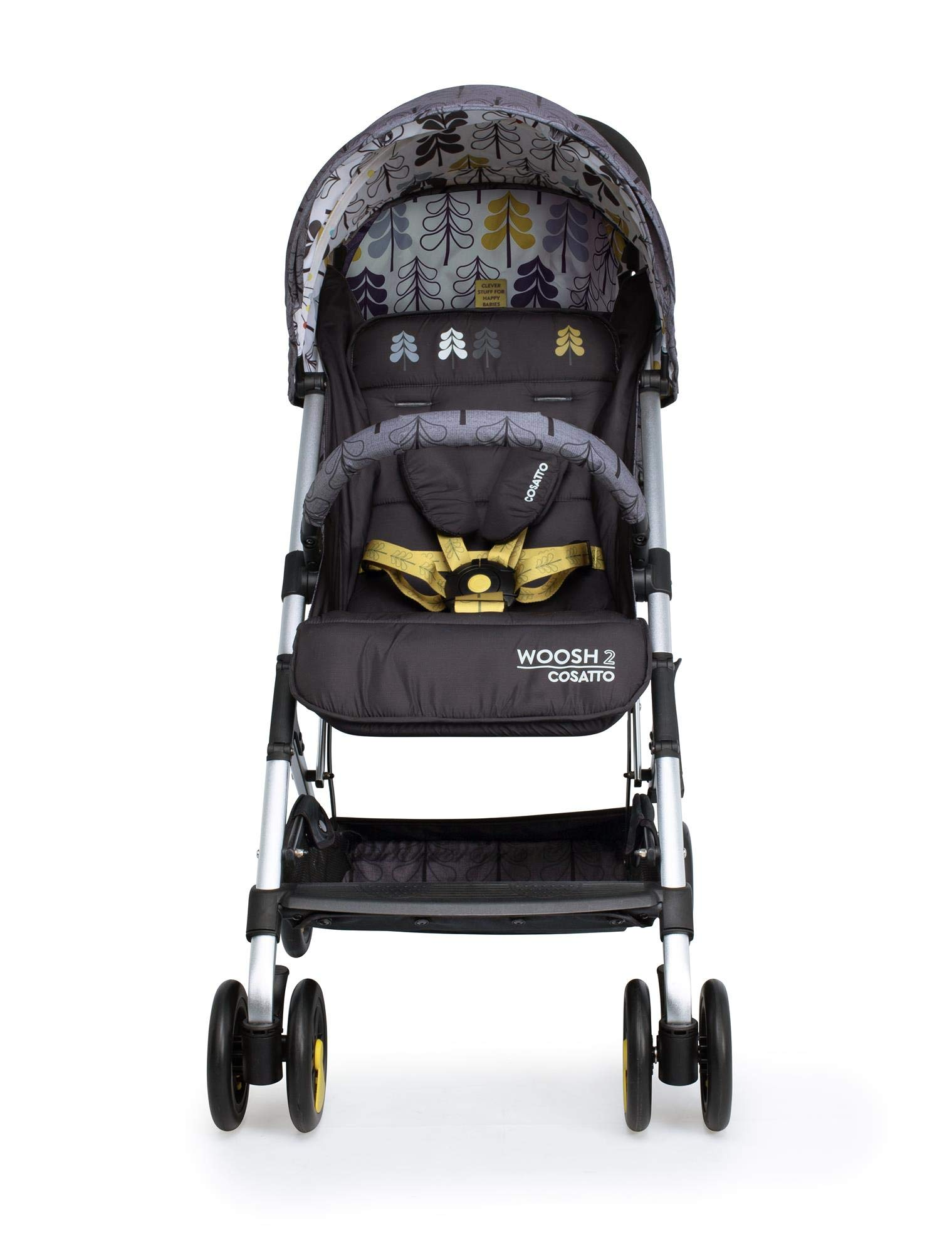 Cosatto Woosh 2 Stroller Fika Forest with raincover and Bumper bar Birth to 25kg Cosatto INCLUDES: The pushchair itself, Raincover, Bumper bar,4 year guarantee(UK and Ireland only) Suitable from birth to max weight of 25kg. Lets your toddler use it for even longer. Lightweight, sturdy aluminium frame. Newborn recline. Lightweight waterproof Ripstop fabric on seat. Lockable swivel front wheels for quick manoeuvres Roomy seat for extra comfort. Removable bumper bar for extra support. Magic bell. Front & rear suspension for a smooth ride. 4