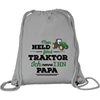 ShirtStreet Vatertag Landwirt Trecker Premium Bio Baumwoll Turnbeutel Rucksack Stanley Stella Papa - Mein Held fährt…
