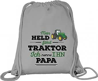 ShirtStreet Vatertag Landwirt Trecker Premium Bio Baumwoll Turnbeutel Rucksack Stanley Stella Papa - Mein Held fährt Traktor