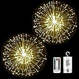 Fuegos artificiales Luces Cadena 198 LED Navidad Guirnaldas Luminosas Fuegos Alambre 8 Modos Iluminación con Control Remoto p