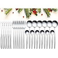 GUANGE Ensemble d'argenterie 24 pièces, ensembles de couverts en acier inoxydable, ensemble de cuillères et fourchettes…