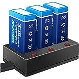 Piles 9V Rechargeable avec Chargeur, Maxlithium Lithium-ION 800mAh Haute Capacité 9 Volts PP3 Batterie pour Détecteur de Fumé