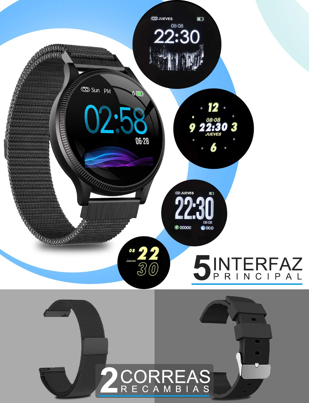 NAIXUES Smartwatch, Reloj Inteligente IP67 Pulsera Actividad Inteligente con Pulsómetro, Monitor de Sueño, Podómetro, Calorías Mujer Hombre para iOS y Android (Dorado) 2