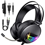 Auriculares Gaming PS4 Auriculares con Micrófono, INSMART Cascos Gaming con 3,5 mm Jack con Micrófono Flexible y Luz LED para