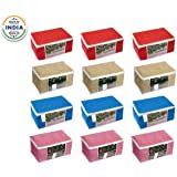HomeStrap 12 Piece Saree Cover/Clothes Storage/Organiser with Transparent Window(Red, Blue, Pink & Beige)