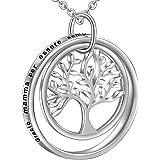 LOVORDS Collana Donna Incisa Argento Sterling 925 Pendente Personalizzata Ciondolo Albero della Vita Famiglia Anello Cerchio